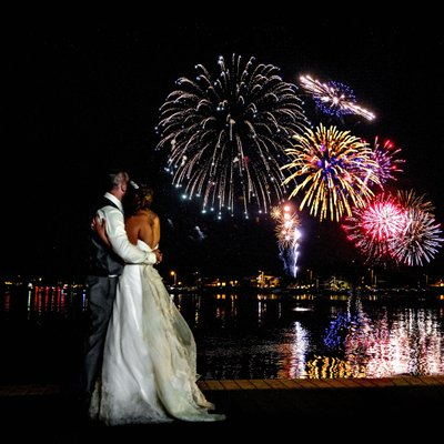 Forth of July fireworks wedding photos