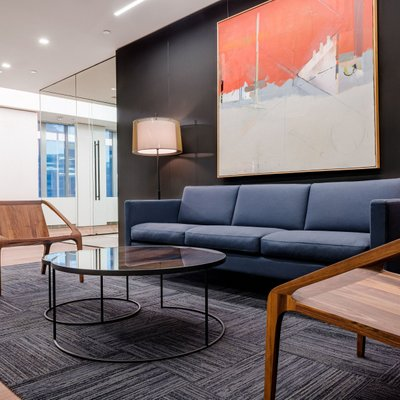 Modern redesigned lobby space in a Boston office.