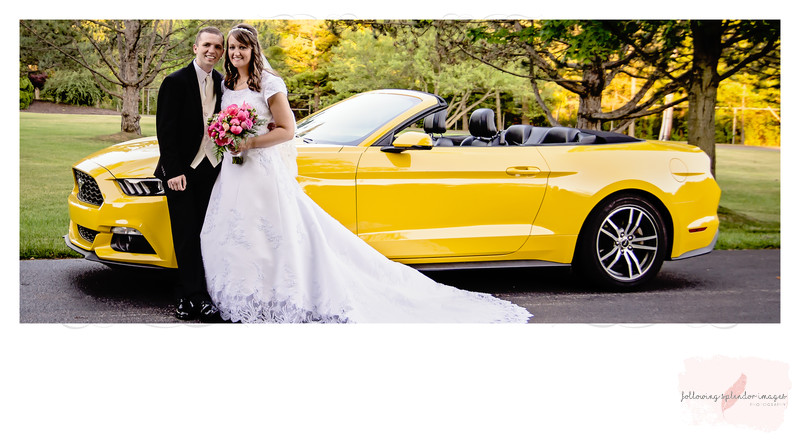 Bride and Groom and Bright Yellow Mustang