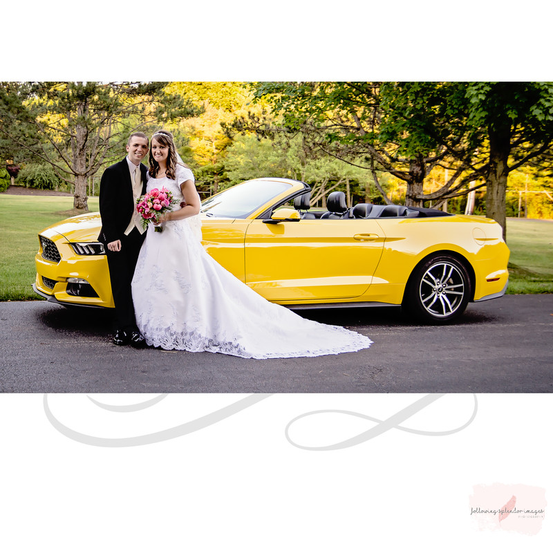 Yellow Mustang Get Away Car for Wedding