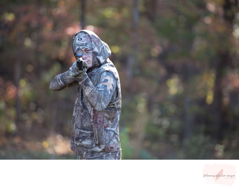 High School Senior Camouflage and Gun Photography