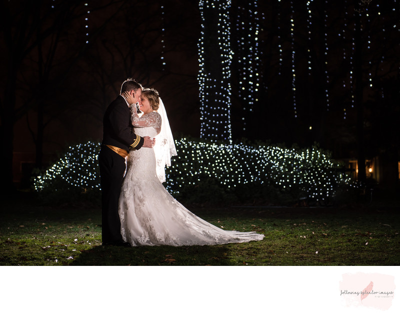 Bride and Groom Night Winter Wedding Portrait Harding University