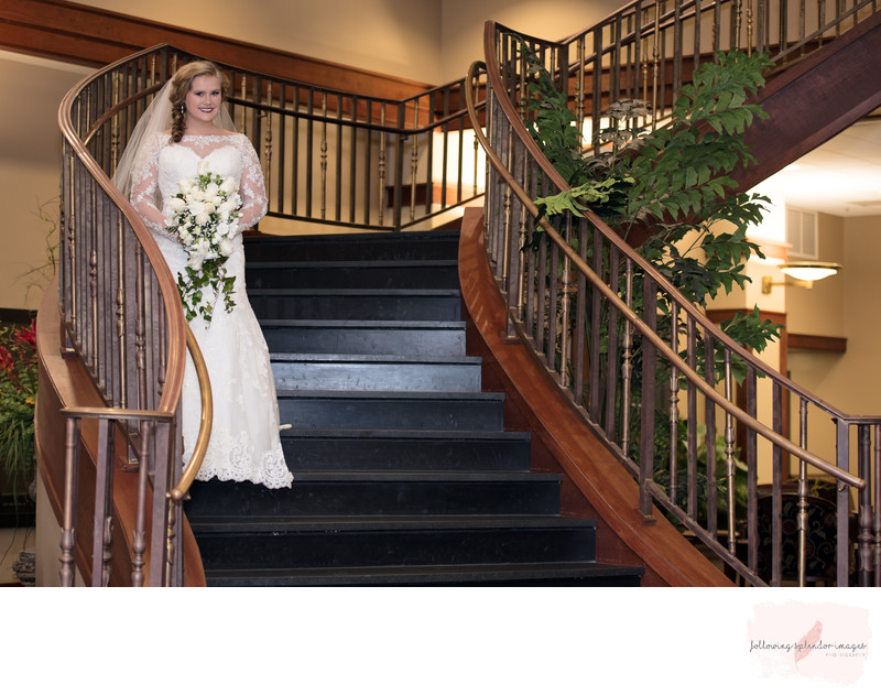 Harding University Stairway Wedding Bridal Portrait