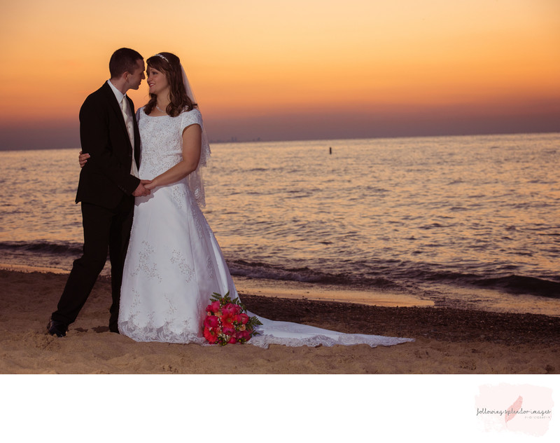 Indiana Beach Sunset Wedding Portrait