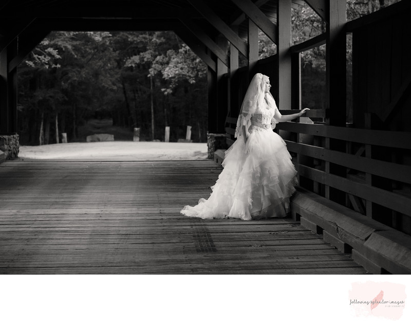 Bridal Portrait on Wooden Bridge Black and White
