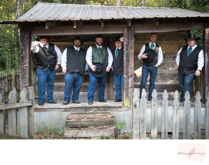 Cowboy Groomsmen at the Wedding Chapel Hot Springs, AR