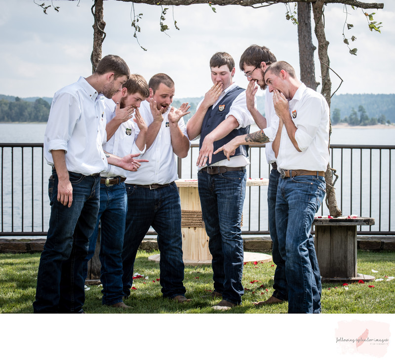 Funny Groomsment Photo at Lake DeGray Resort