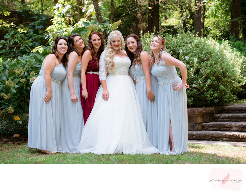 Garvan Woodland Gardens Bridesmaids in Gray and Burgundy