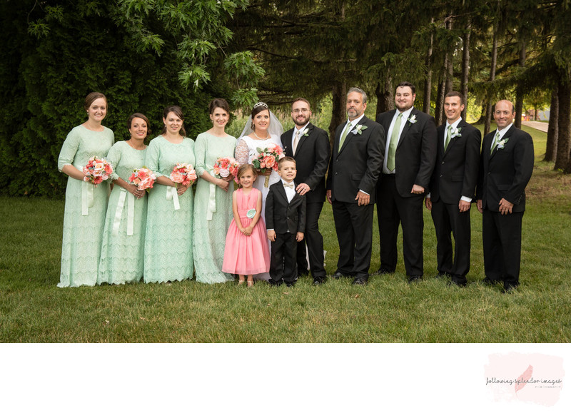 Conservative Wedding in Mint and Pink