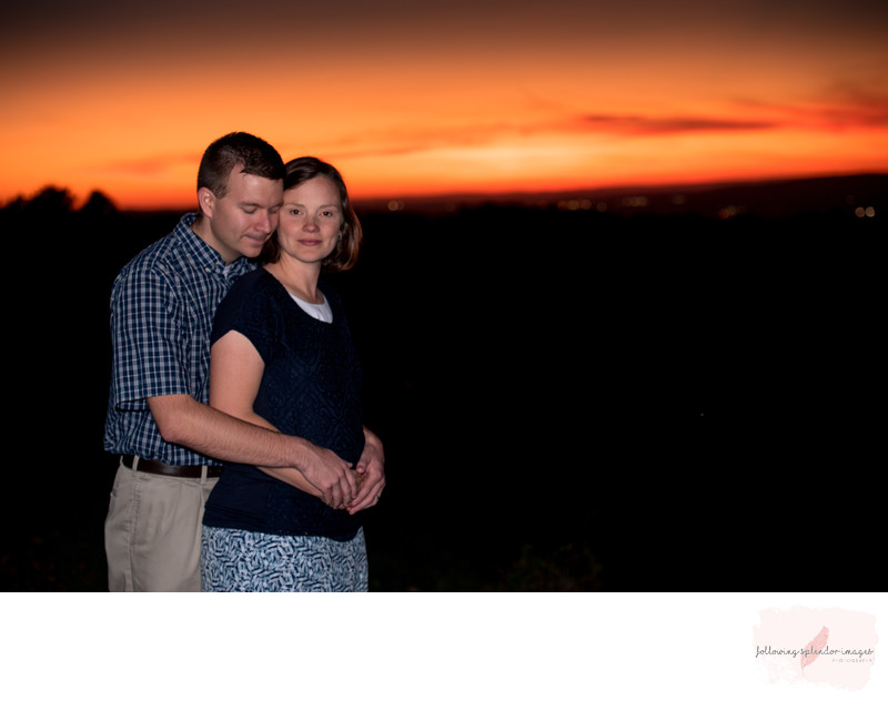 Newly Expecting Pregnancy Sunset Couple Portrait