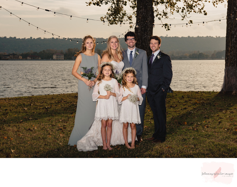 Small Bridal Party Park on the River Wedding