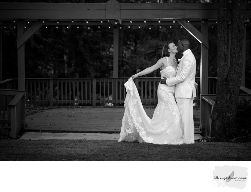 Gazebo Black and White Wedding Photo