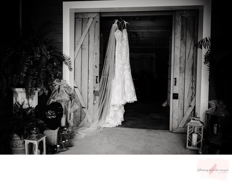 Wedding Dress hanging from Barn