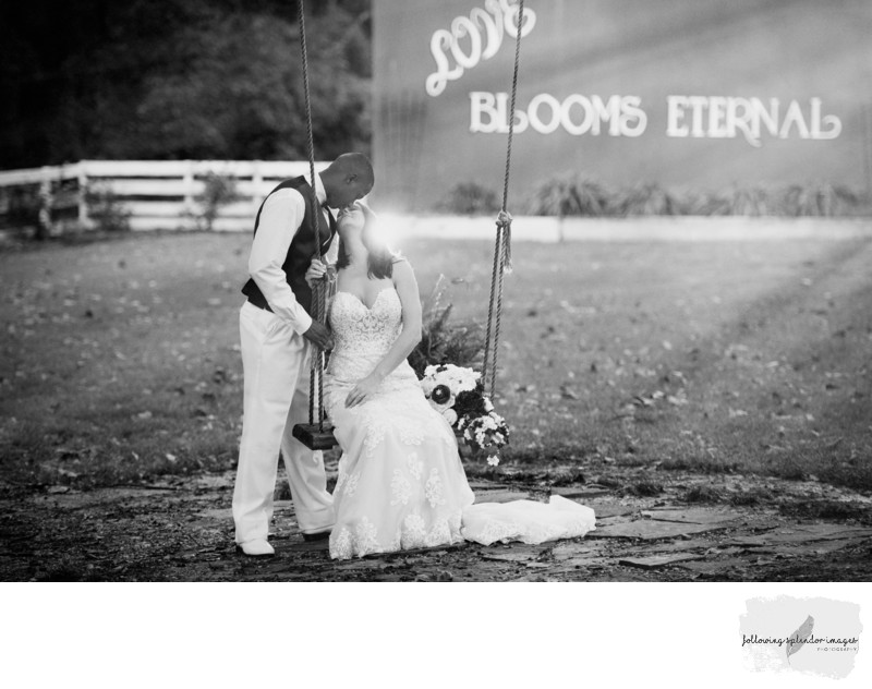 Black and White Wedding Photo with Sunstream