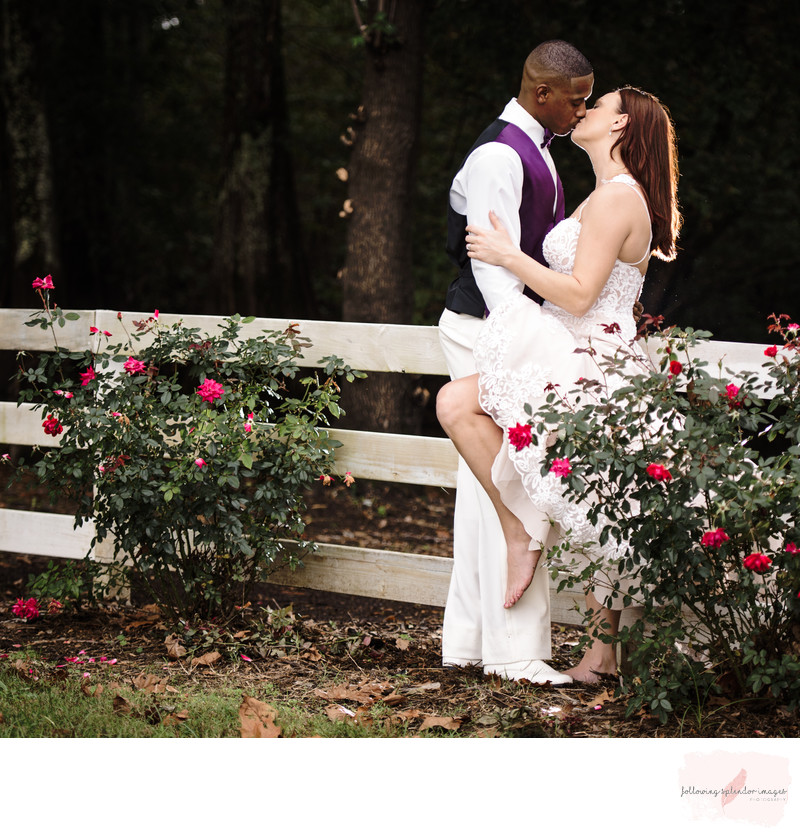 Bride and Groom Romantic Kiss
