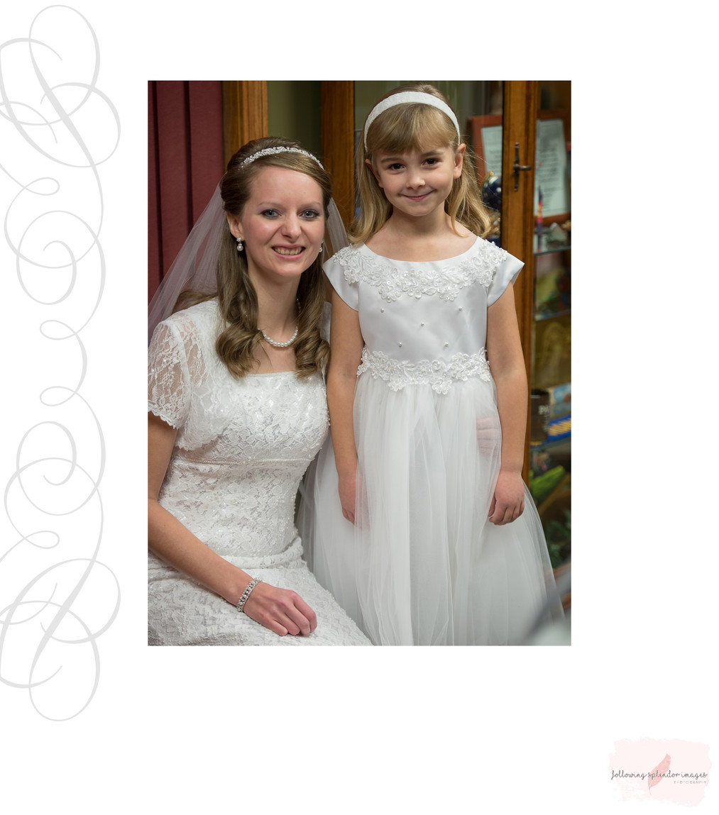 Wedding Day Conservative Bride And Flower Girl