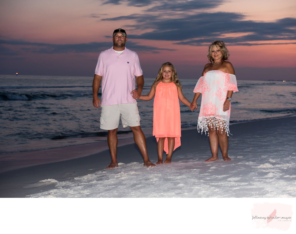 Family Beach Portrait With Sunset Colors