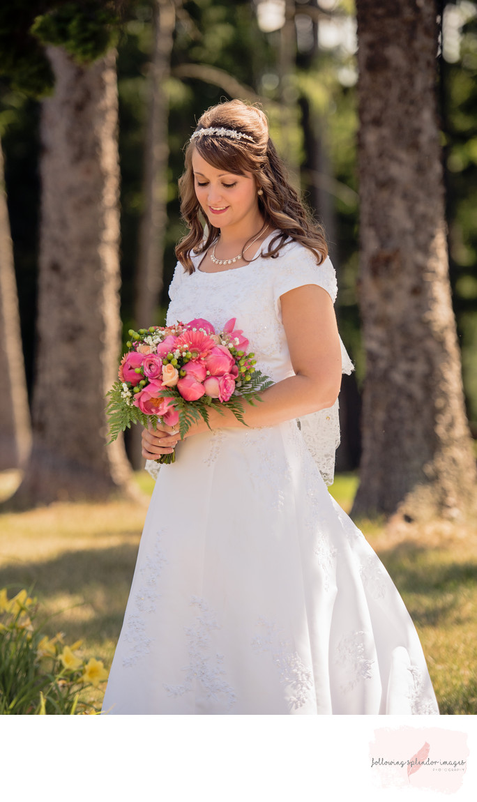 Spring Bride with a Pink Bouquet