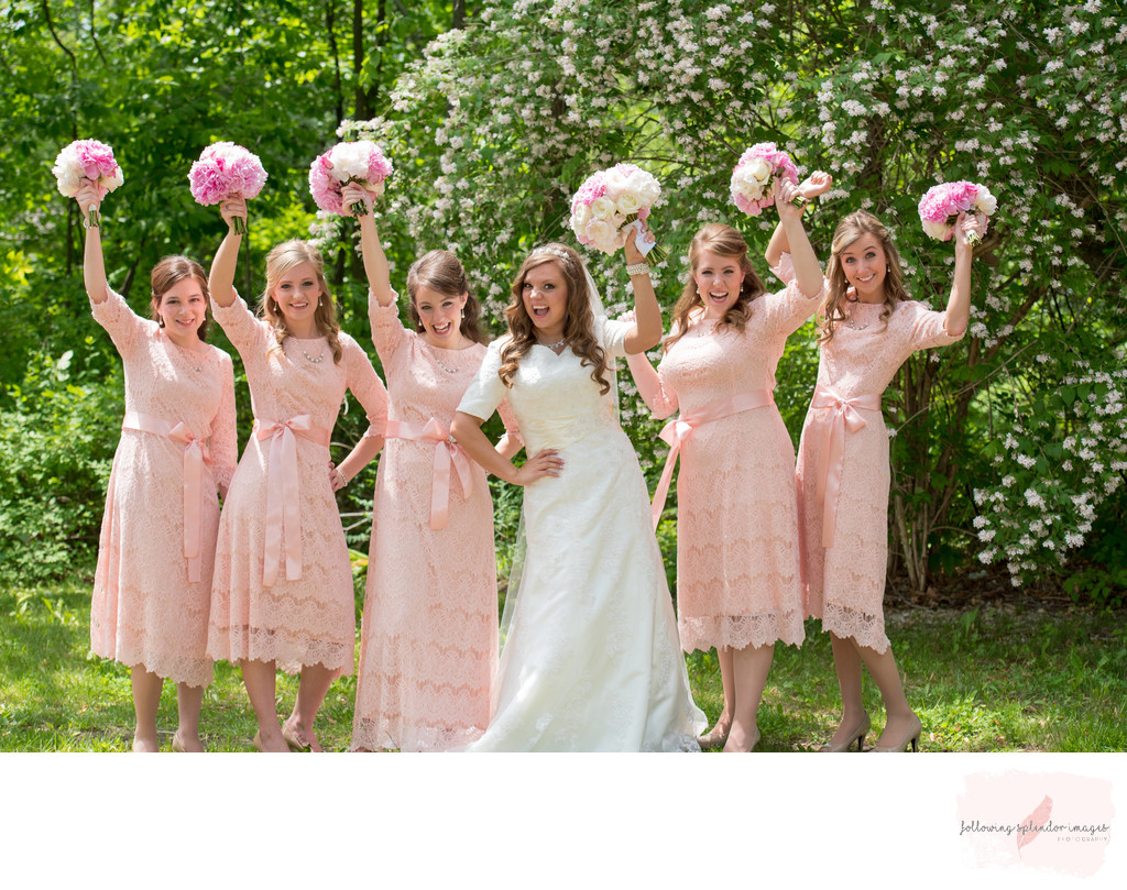 Conservative Bridesmaids Dresses in Pink