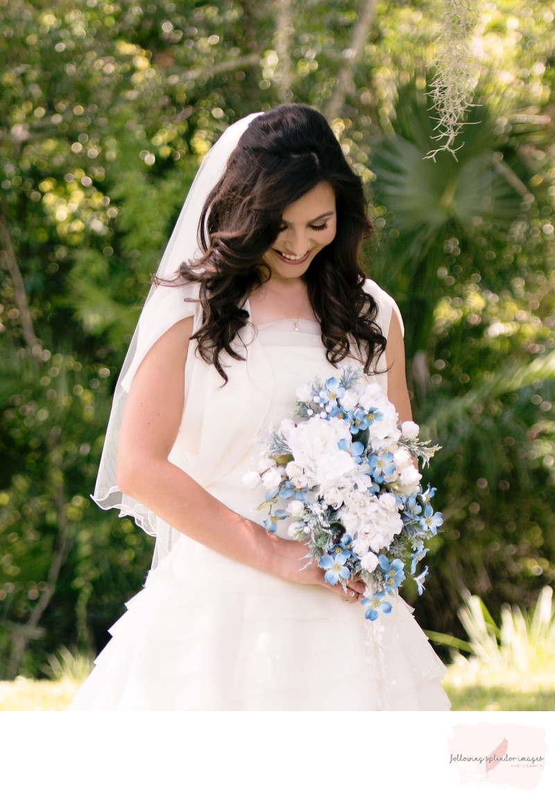 Spring Wedding Bridal Portrait with Blue and White Boquet
