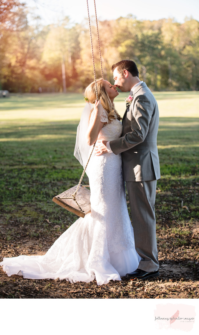 Romantic Wedding Kiss at Carter Farm Wedding