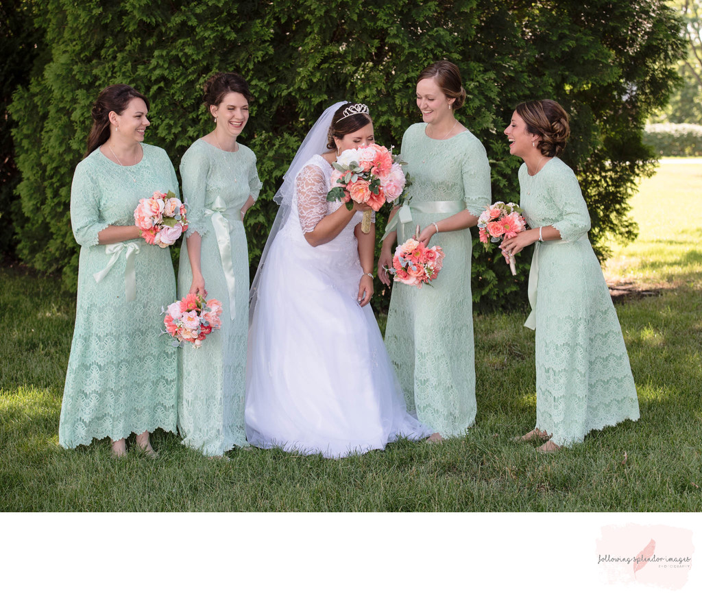 Mint Green Bridesmaids Dresses Conservative