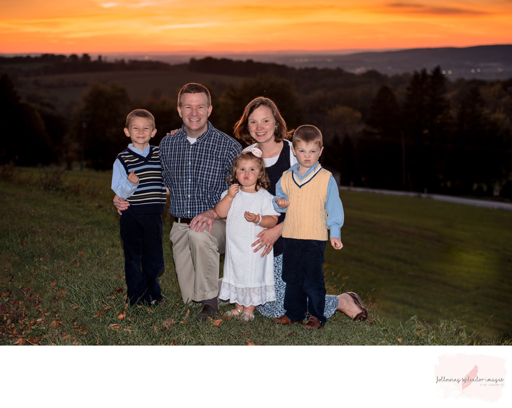 Family of Five Sunset Photo Using Off Camera Flash