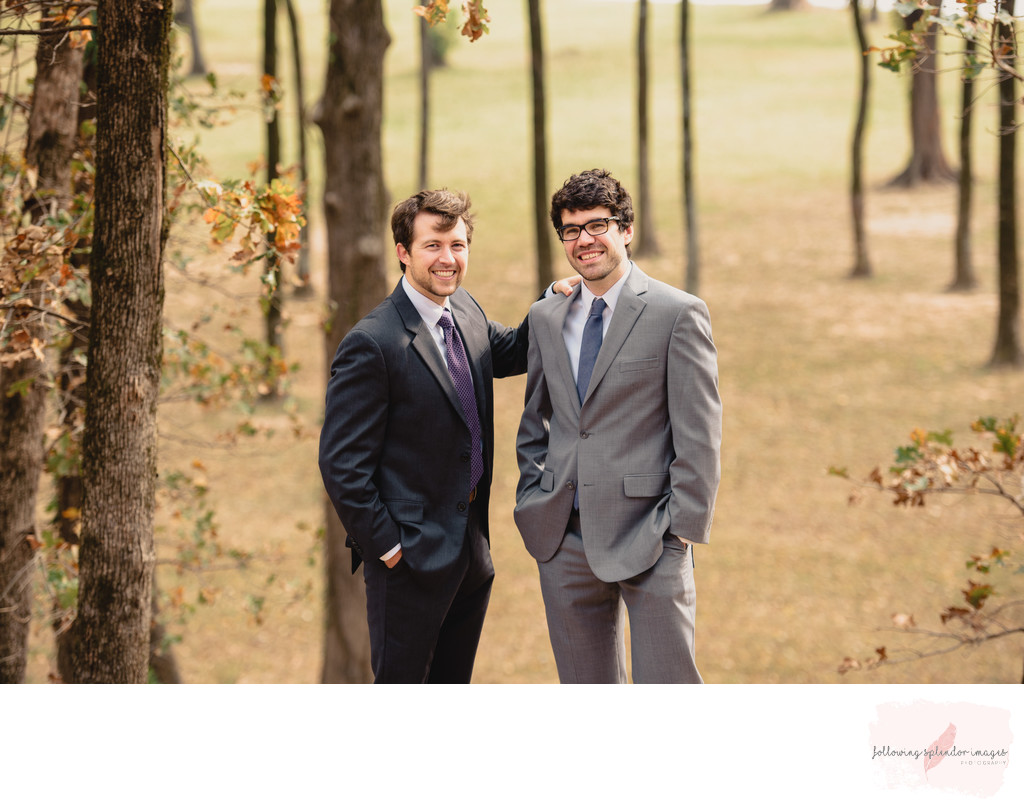 Groom and Best Man Fall Wedding at the Park on the River