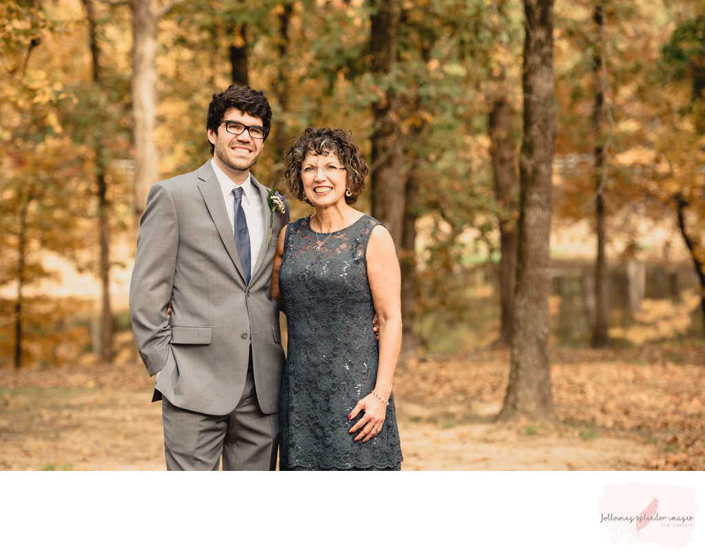 Mother and Son Wedding Portrait Park On The River