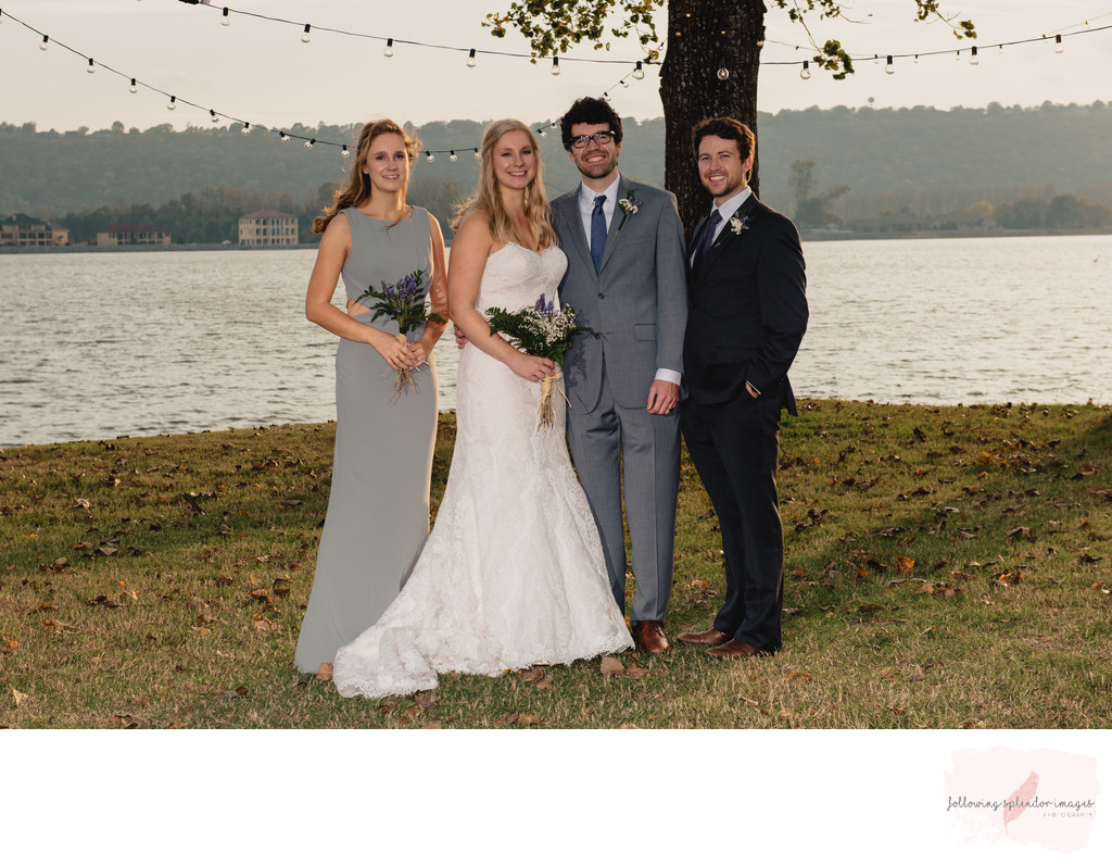 Park on the River Small Wedding Party Photo