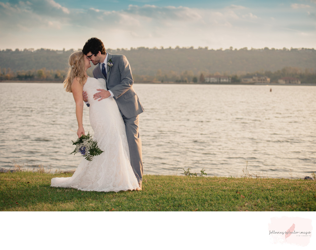 Modern Bride and Groom Park On The River Maumelle Arkansas