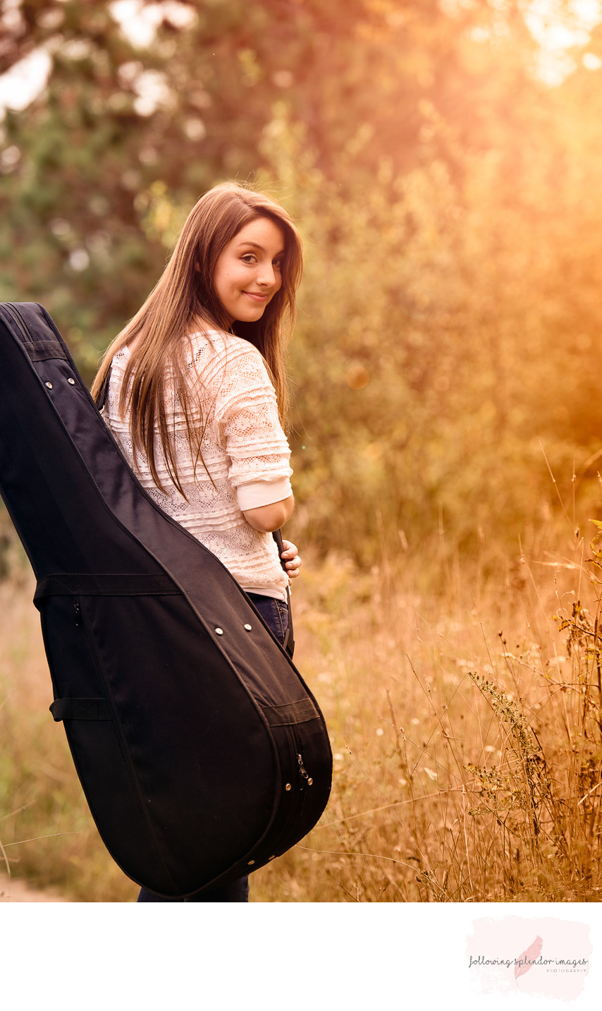 Golden Hour Girl With Guitar Senior Photography