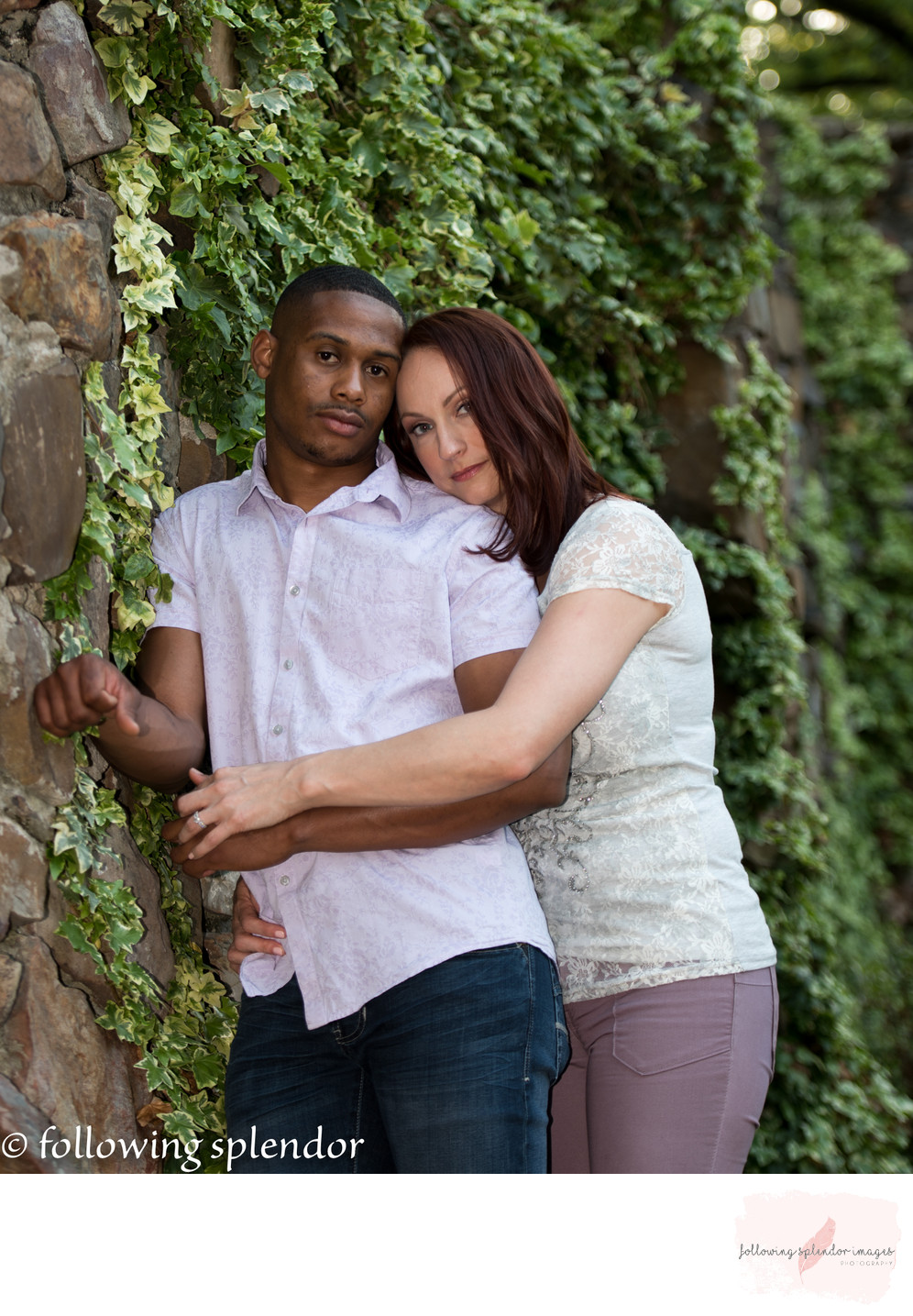 Stone wall for engagement photos makes a great background