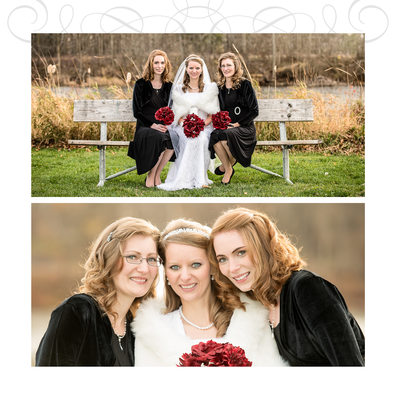 Bride and Sisters Fall Wedding Portraits