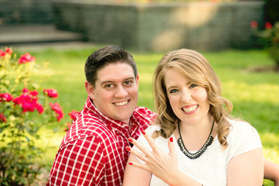 Red and White Theme Engagement Photo