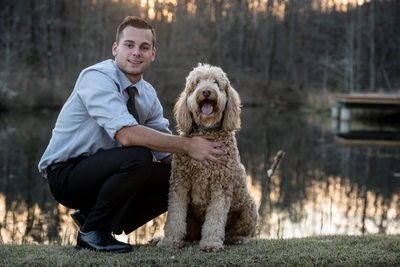 Adam and his Australian Labradoodle Senior Photos Little Rock, Arkansas
