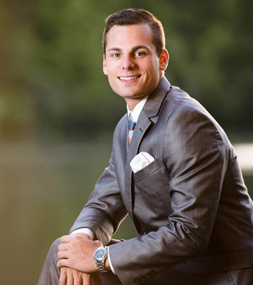 High School Senior Portrait in a Grey Suit