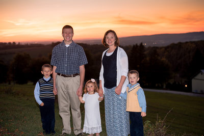 Family of Five Sunset Portrait