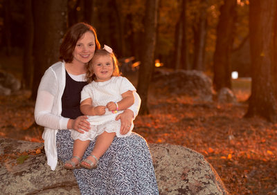 Golden Hour Mother and Daughter Fall Portrait