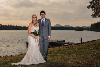 Bride and Groom at Maumelle Lake at the Park On The River