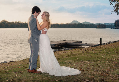 Park on the River Wedding Portraits by Lake Maumelle