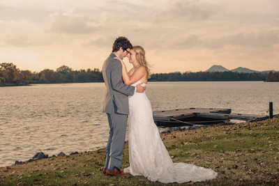 Bride and Groom Portrait With Pinnacle Mountain Background