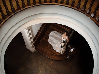Bride on bottom of Spiral Stairs