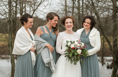 Valparaiso photographer winter wedding with bridesmaids.