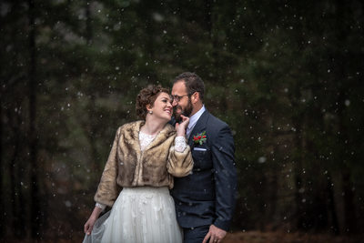 Winter wedding photography portrait