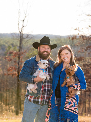 Fall Couple Portrait with Two Dogs