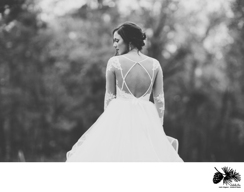 A photograph of the back of the wedding dress | Loblolly