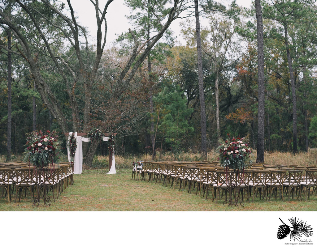 Wedding Ceremony Area all set up chairs at Loblolly Rise