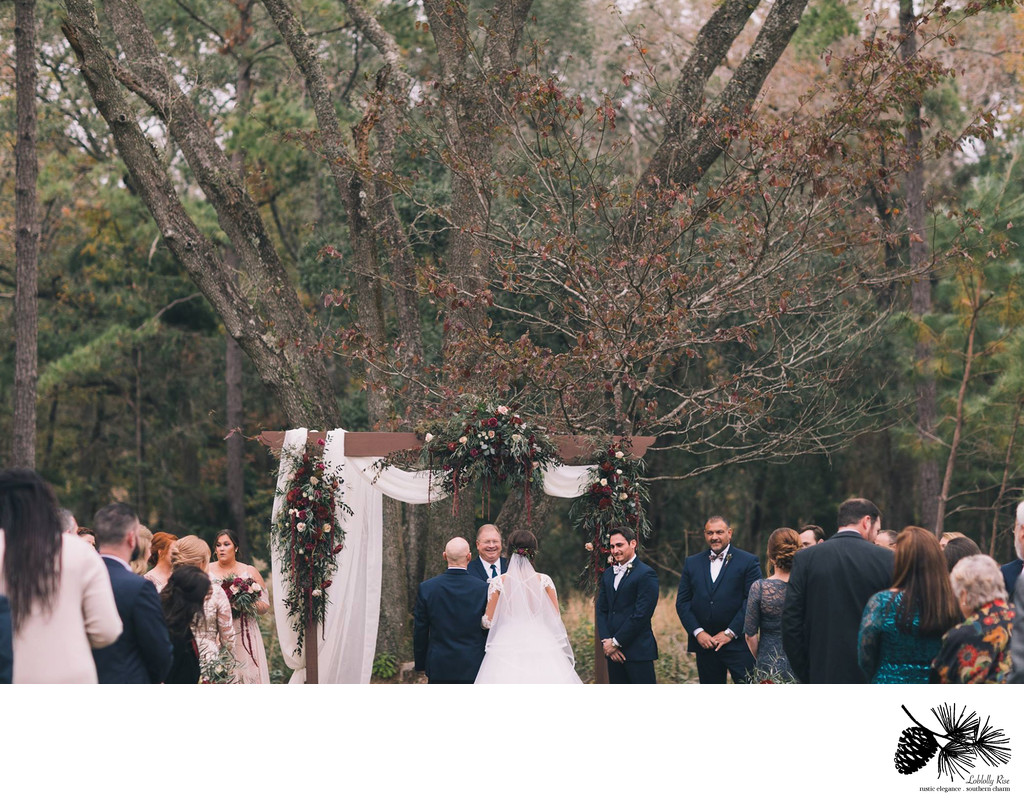 Wedding Ceremony in Tallahassee Florida at Loblolly Rise