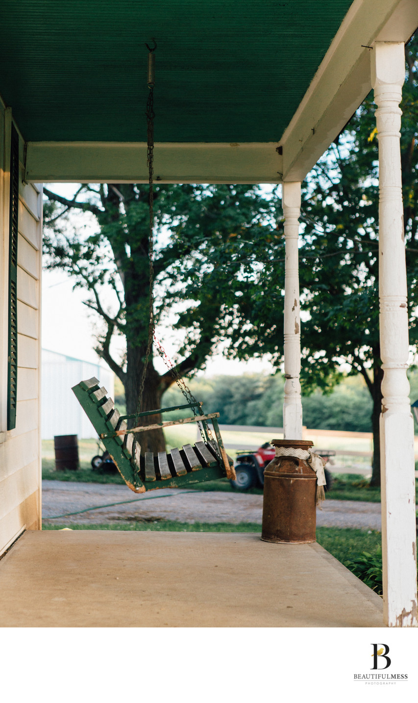 Porch swing on a summer evening
